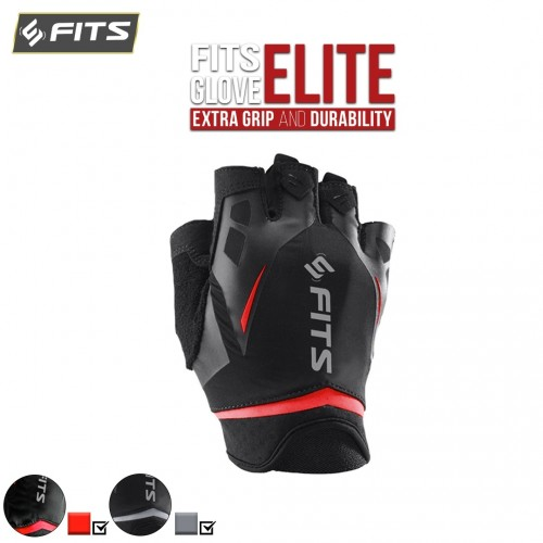 FITS Gloves Elite Sarung Tangan Gym Fitnes Berkendara Strap Gym